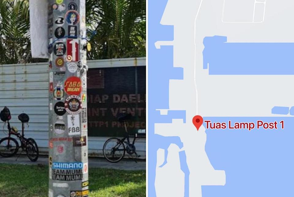 The remote Tuas lamp post and the stickers that adorn it. (PHOTO: Ong Ye Kung/Facebook)