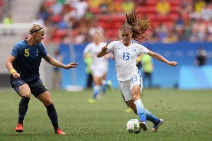 Morgan scored the USA's lone goal in its quarterfinal loss to Sweden at the Summer Olympics. (Getty Images)
