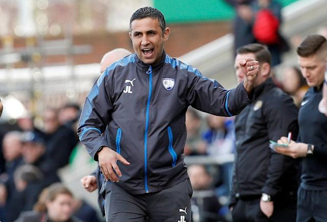 "Soccer Football - League Two - Chesterfield vs Notts County - Proact Stadium, Chesterfield, Britain - March 25, 2018 Chesterfield manager Jack Lester celebrates after the final whistle Action Images/Craig Brough EDITORIAL USE ONLY. No use with unauthorized audio, video, data, fixture lists, club/league logos or ""live"" services. Online in-match use limited to 75 images, no video emulation. No use in betting, games or single club/league/player publications. Please contact your account representative for further details."