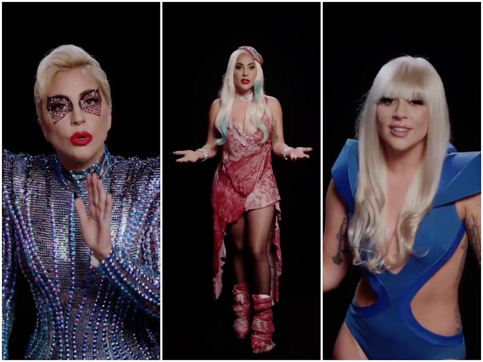 Gaga donned a number of her most memorable costumes for the video (Lady Gaga/Twitter)