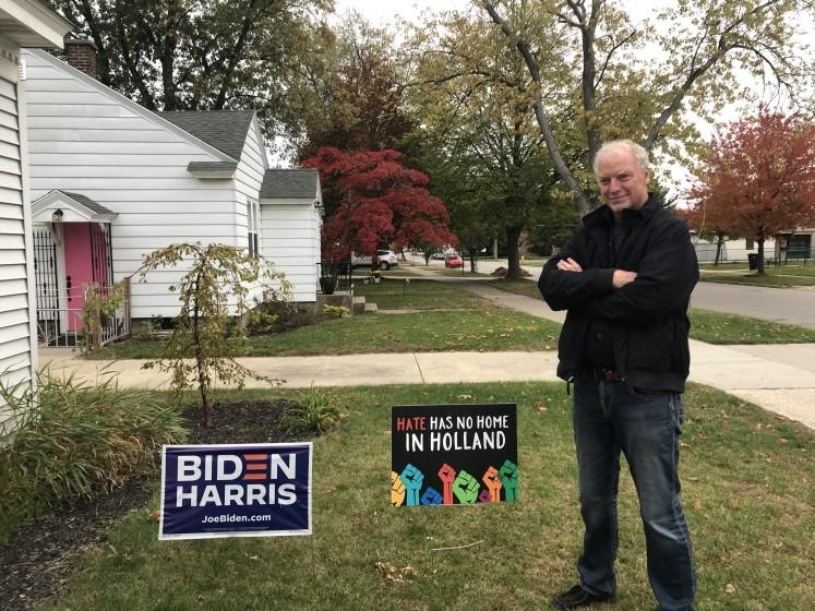 The Rev. Keith Mannes, 59, in front of his house in Holland, Mich. The Christian Reformed Church and lifelong Republican recently quit his position to speak out against the re-election bid of President Trump.