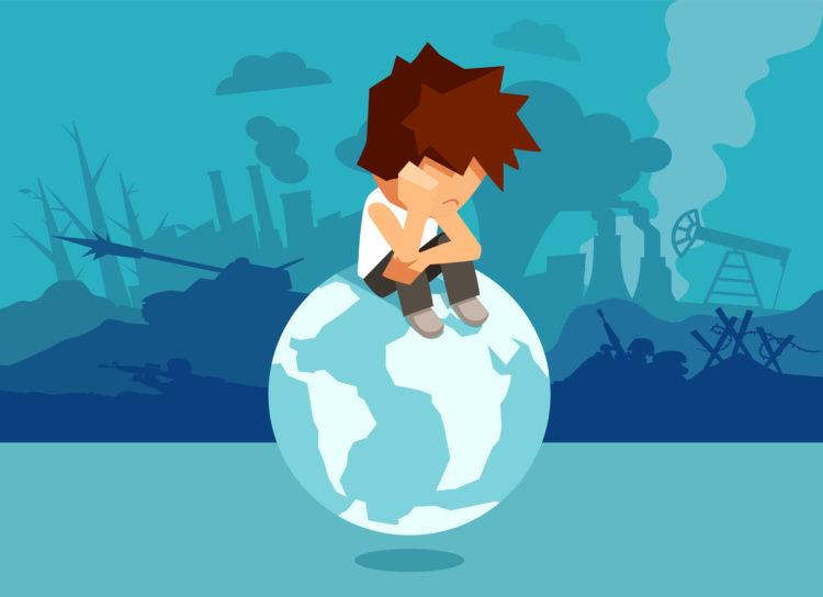 Concept illustration of unhappy abandoned boy sitting on globe and suffering from climate change and war and global problems.