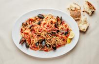 """<a href=""""https://www.bonappetit.com/recipe/seafood-spaghetti-with-mussels-and-shrimp?mbid=synd_yahoo_rss"""" rel=""""nofollow noopener"""" target=""""_blank"""" data-ylk=""""slk:See recipe."""" class=""""link rapid-noclick-resp"""">See recipe.</a>"""