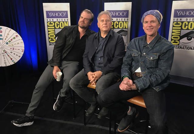 <p><i>Stranger Things</i> veterans David Harbour and Matthew Modine are joined by newcomer Paul Reiser (center) in Yahoo TV's Comic-Con suite. While we already know Harbour and Modine as Police Chief Jim Hopper and mad scientist Martin Brenner, Reiser joins the Season 2 cast as Owens, a Department of Energy chief tasked with looking into the strange events of the first season.<br><br>(Photo: Giana Mucci/Yahoo) </p>