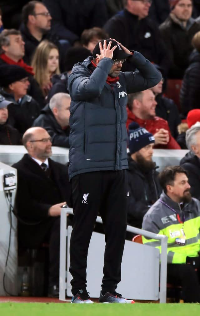 Jurgen Klopp reacts on the touchline during Liverpool's latest win (Peter Byrne/PA)