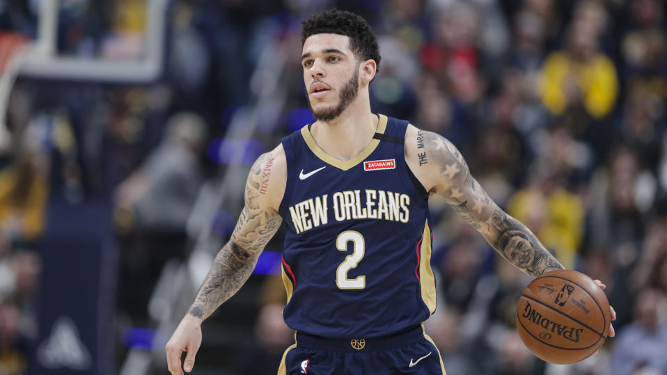 New Orleans Pelicans guard Lonzo Ball (2) plays against the Indiana Pacers during the first half of an NBA basketball game in Indianapolis, Saturday, Feb. 8, 2020. (AP Photo/Michael Conroy)