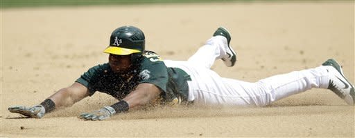 Oakland Athletics' Yoenis Cespedes steals third base against the Kansas City Royals during the second inning of a baseball game on Wednesday, April 11, 2012, in Oakland, Calif. Cespedes scored after the stolen base on a throwing error by Royals catcher Brayan Pena. (AP Photo/Marcio Jose Sanchez)