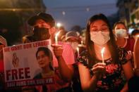 Anti-coup night protest in Yangon