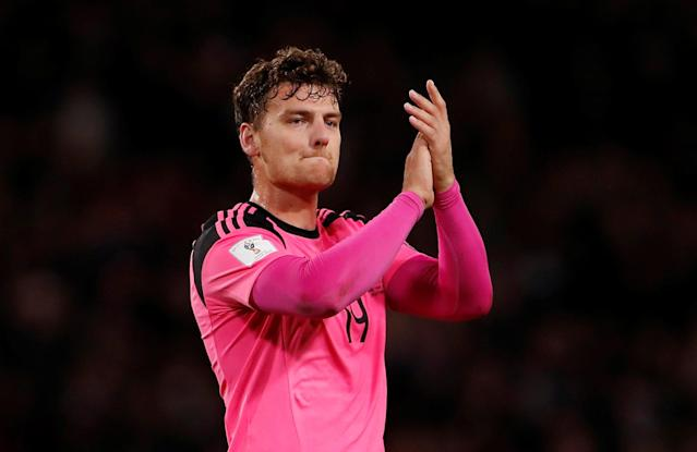 Soccer Football - 2018 World Cup Qualifications - Europe - Scotland vs Slovakia - Hampden Park, Glasgow, Britain - October 5, 2017 Scotland's Chris Martin applauds the fans after the match Action Images via Reuters/Lee Smith