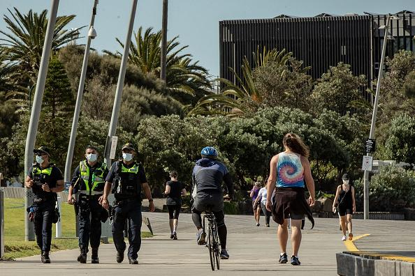 Police patrol Melbourne during Covid-19.