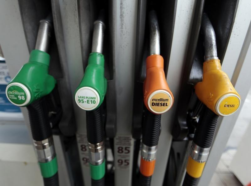 Petrol nozzles are seen in a gas station in Nice
