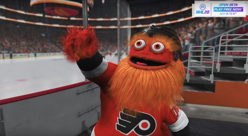 Gritty can be found in EA Sports' NHL 20. (Youtube // EA Sports NHL)