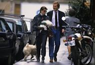 <p>Princess Caroline out for a stroll in Paris with Stefano Casiraghi in 1984. </p>