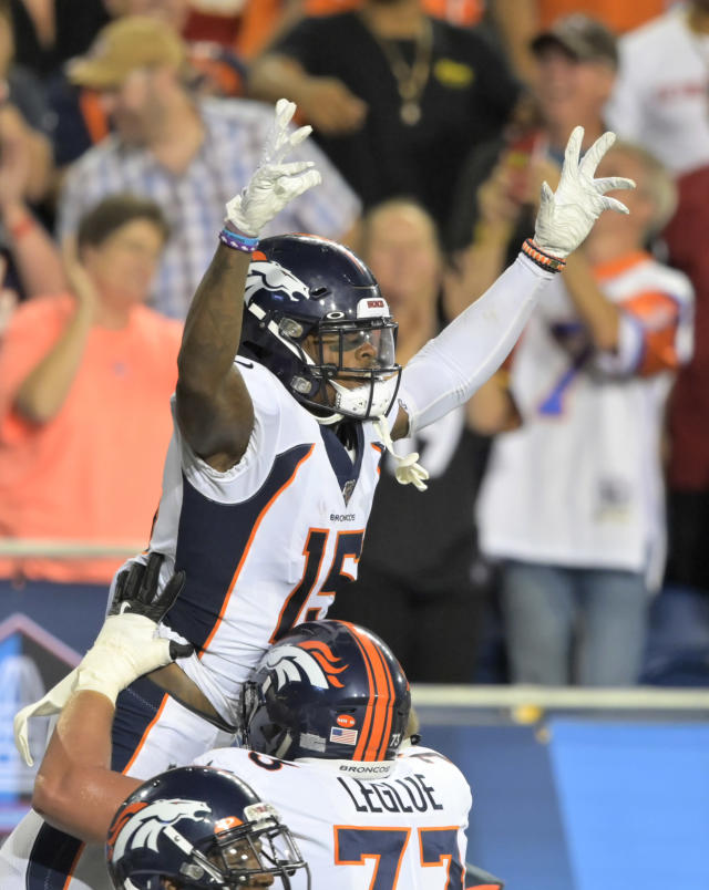 Denver Broncos wide receiver Juwann Winfree celebrates after catching a touchdown pass during the second half of the team's Pro Football Hall of Fame NFL preseason game against the Atlanta Falcons, Thursday, Aug. 1, 2019, in Canton, Ohio. (AP Photo/David Richard)