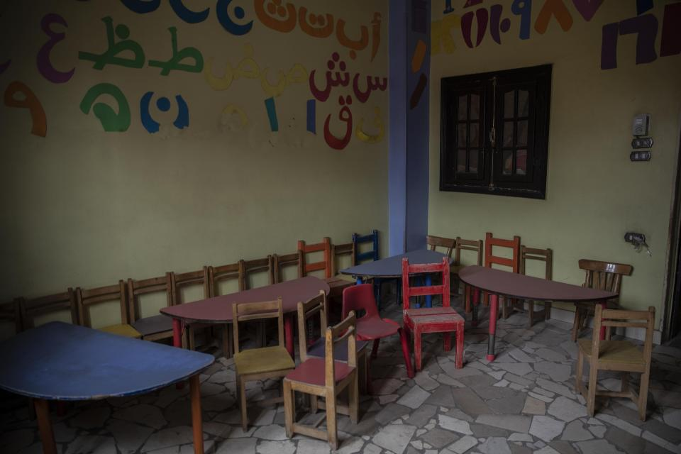 A nursery built by non-governmental organization Resala Nour Ala Nour is closed due to the coronavirus outbreak, in an impoverished area of Cairo, Egypt, Thursday, April 9, 2020. (AP Photo/Nariman El-Mofty)