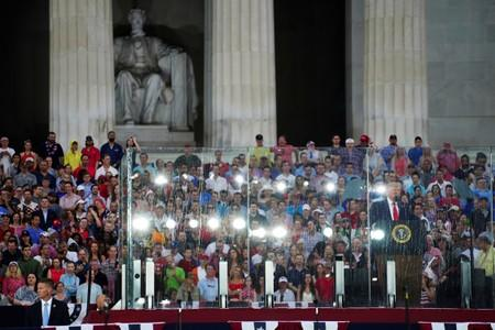 FILE PHOTO: U.S. President Donald Trump gives his Fourth of July speech at the Lincoln Memorial in Washington