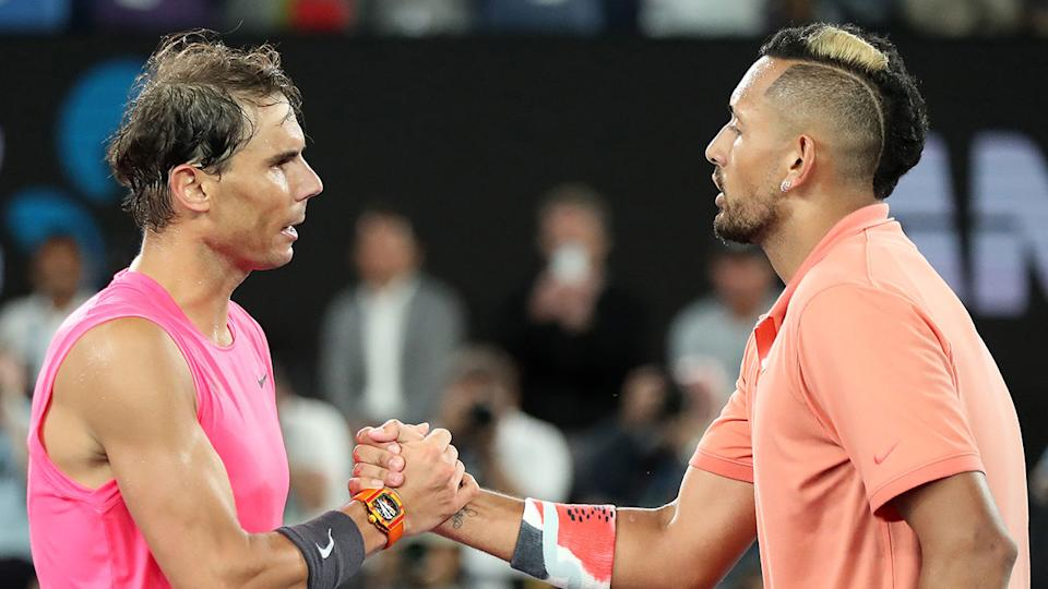 Rafael Nadal and Nick Kyrgios' Australian Open grudge match was played out in great spirits. Pic: Getty