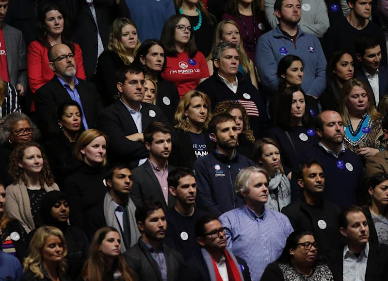 Supporters listen as Obama speaks.