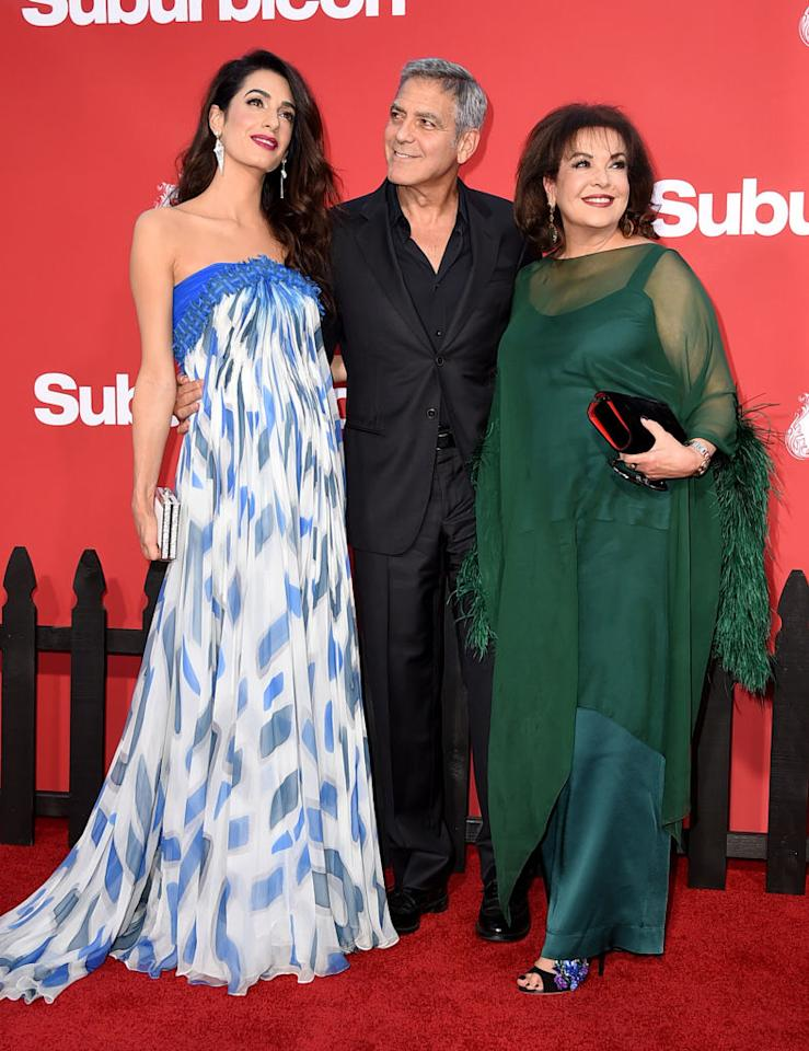 <p><strong>When: Oct. 22, 2017</strong><br />Amal Clooney brought a special guest: Her equally stylish mother, Baria Alamuddin! While Amal kept it simple in a strapless blue and white print maxi dress, Baria dazzled in a floor-length deep green kaftan dress and an elegant chin-length bob. (<em>Photo: Getty)</em> </p>
