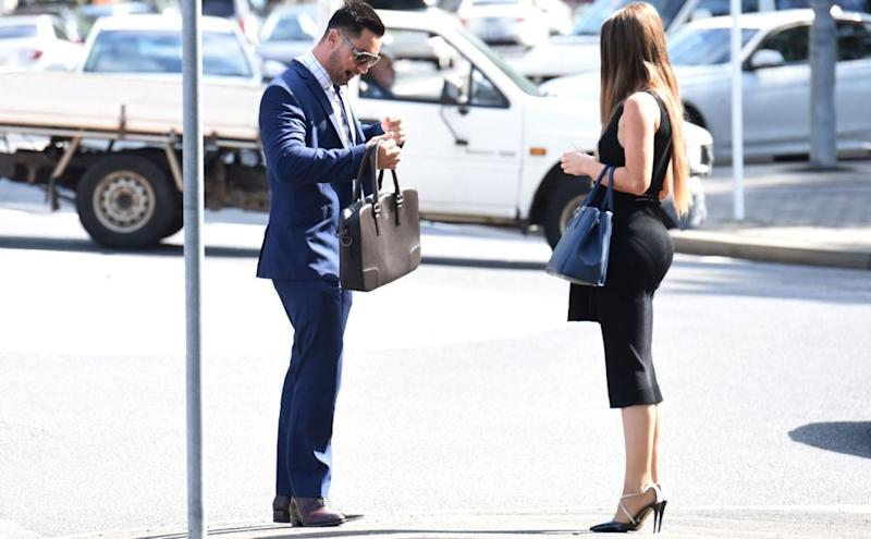 Salim Mehajer, deputy mayor of Auburn, and his wife Aysha, arrive at Bankstown Court House in Sydney on a separate occasion. Photo: AAP