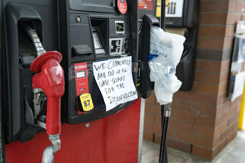 A pump is closed at a QuickTrip on May 11 in Atlanta.