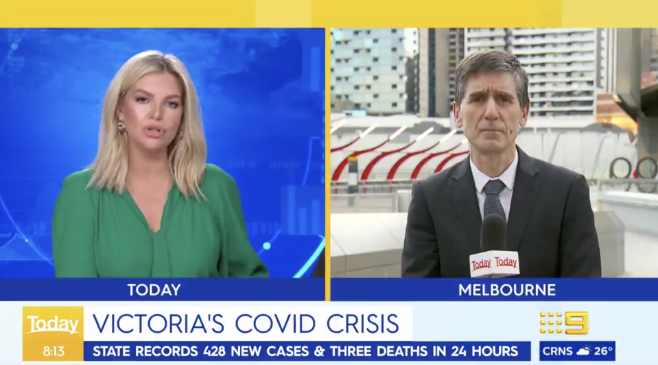 Dr Tony Bartone speaks with Weekend Today host Rebecca Maddern about stage-four restrictions in Victoria.
