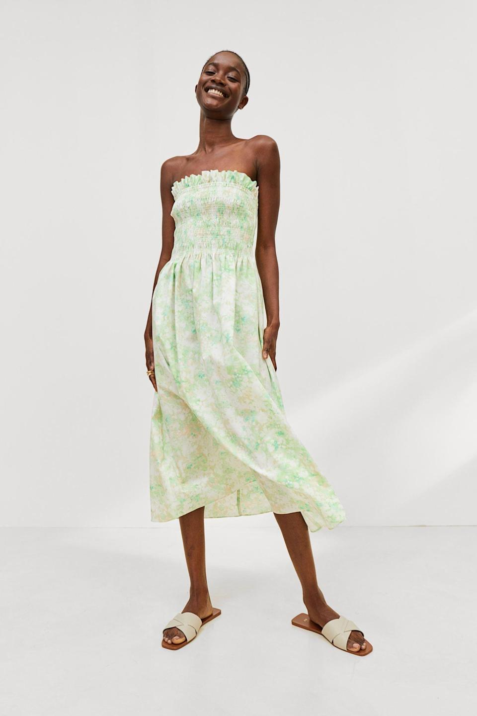 <p>This <span>Smocked-bodice Dress</span> ($18, originally $20) pairs well with spontaneous weekend brunch plans. Finish the look with some slides and a straw hat if you feel like being extra.</p>