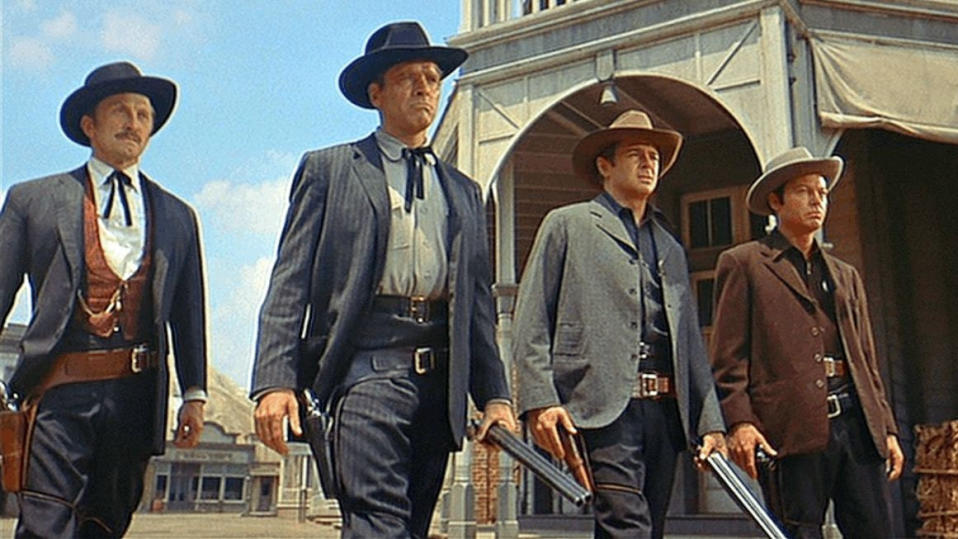 Kirk Douglas, Burt Lancaster, John Hudson and DeForest Kelley in 'Gunfight at the O.K. Corral'. (Credit: Paramount)