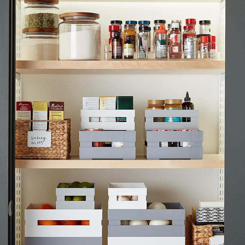 "<p>We love that these <a href=""https://www.popsugar.com/buy/Guzzini-White-Italian-Pantry-Bins-496375?p_name=Guzzini%20White%20Italian%20Pantry%20Bins&retailer=containerstore.com&pid=496375&price=13&evar1=casa%3Aus&evar9=46697047&evar98=https%3A%2F%2Fwww.popsugar.com%2Fhome%2Fphoto-gallery%2F46697047%2Fimage%2F46700077%2FGuzzini-White-Italian-Pantry-Bins&list1=shopping%2Corganization%2Ckitchens%2Chome%20organization&prop13=api&pdata=1"" rel=""nofollow"" data-shoppable-link=""1"" target=""_blank"" class=""ga-track"" data-ga-category=""Related"" data-ga-label=""https://www.containerstore.com/s/guzzini-white-italian-pantry-bins/d?q=pantry%20organizer&amp;productId=11009269"" data-ga-action=""In-Line Links"">Guzzini White Italian Pantry Bins</a> ($13-$18) are stackable.</p>"