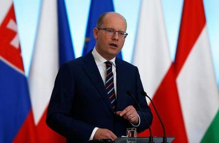 Visegrad Group member nation Czech Republic's PM Bohuslav Sobotka speaks at a news conference during a summit in Warsaw