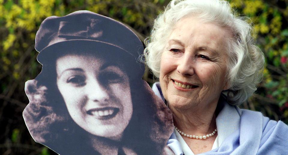 """Forces' Sweetheart Dame Vera Lynn died in June at the age of 103 with many prominent figures, including the Royal Family, paying their respects. The <em>We'll Meet Again</em> singer was honoured with a military funeral, with the procession accompanied by <a href=""""https://uk.news.yahoo.com/dame-vera-lynn-honoured-flypast-125506900.html"""" data-ylk=""""slk:a Battle of Britain flypast;outcm:mb_qualified_link;_E:mb_qualified_link;ct:story;"""" class=""""link rapid-noclick-resp yahoo-link"""">a Battle of Britain flypast</a>. (Photo by Sean Dempsey - PA Images/PA Images via Getty Images)"""
