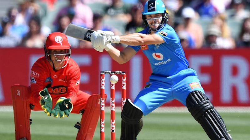 Jono Wells' quickfire 58 has led Adelaide to 6-173 in their BBL clash with the Melbourne Renegades