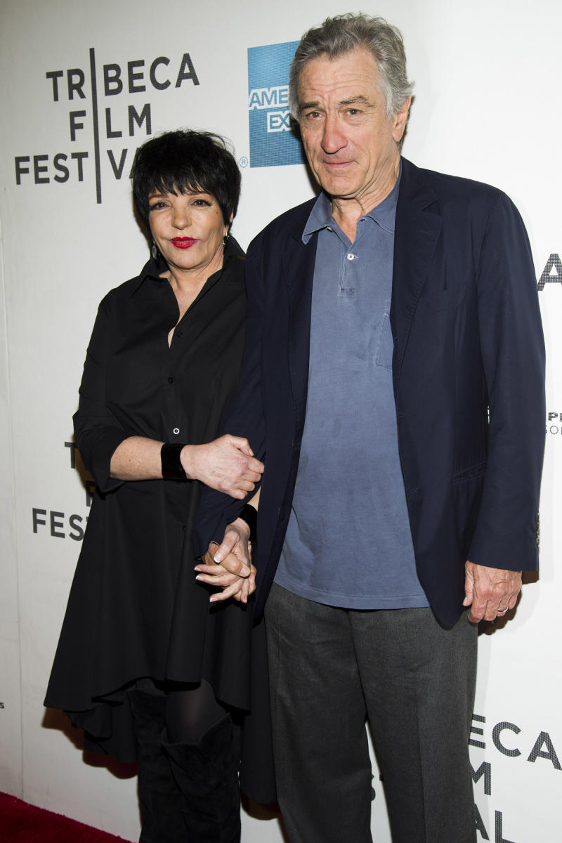 """Liza Minnelli and Robert De Niro attend the premiere of """"Mistaken For Strangers"""" during the opening night of the 2013 Tribeca Film Festival on Wednesday April 17, 2013 in New York. (Photo by Charles Sykes/Invision/AP)"""