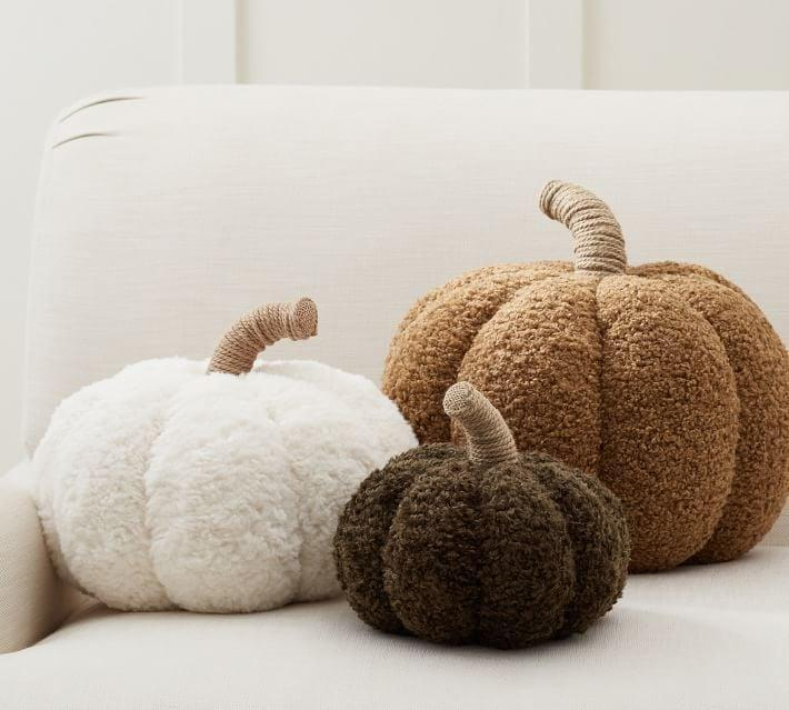 <p>You'll want to snuggle up with the <span>Cozy Pumpkin Pillows</span> ($30-$50) all autumn long, thanks to their teddy bear fabric.</p>