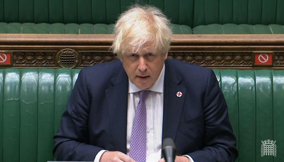 Prime Minister Boris Johnson during Prime Minister's Questions in the House of Commons, London (House of Commons/PA) (PA Wire)