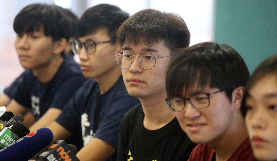 Davin Wong (centre) attends a Hong Kong press conference on August 22, 2019, when he was the acting president of Hong Kong University's student union. Eight days later, he was attacked by a masked assailant. He fled Hong Kong the next day, never to return. Photo: K.Y. Cheng
