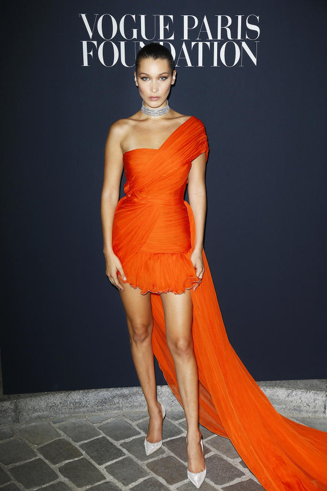 """<h2>Bella Hadid In Giambattista Valli</h2>                                                                                                                                                                             <p><p>At the <em>Vogue</em> Foundation Dinner in Paris</p>                                                                                                                                                                               <h4>Getty Images</h4>                                                                                                                 <p>     <strong>Related Articles</strong>     <ul>         <li><a rel=""""nofollow"""" href=""""http://thezoereport.com/fashion/style-tips/box-of-style-ways-to-wear-cape-trend/?utm_source=yahoo&utm_medium=syndication"""">The Key Styling Piece Your Wardrobe Needs</a></li><li><a rel=""""nofollow"""" href=""""http://thezoereport.com/living/wellness/chocolate-sleep-deprivation/?utm_source=yahoo&utm_medium=syndication"""">PSA: Chocolate Reduces The Effects Of Sleep Deprivation</a></li><li><a rel=""""nofollow"""" href=""""http://thezoereport.com/entertainment/culture/congress-sleeveless-dresscode-tops-dresses/?utm_source=yahoo&utm_medium=syndication"""">Sleeveless Tops Are Inappropriate, Says Congress</a></li>    </ul> </p>"""