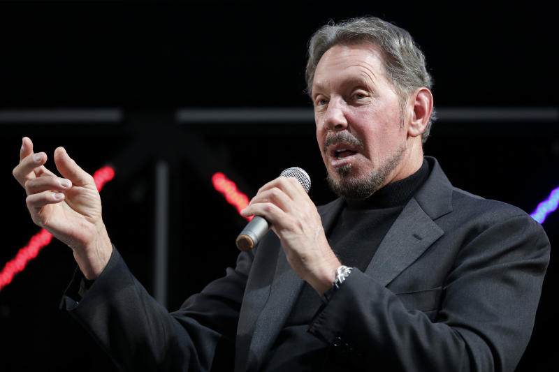 Billionaire Larry Ellison, executive chairman and chief technology officer of Oracle Corp., delivers a keynote speech at the New Economy Summit 2015 in Tokyo, Japan, on Wednesday, April 8, 2015. | Kiyoshi Ota—Bloomberg via Getty Images.
