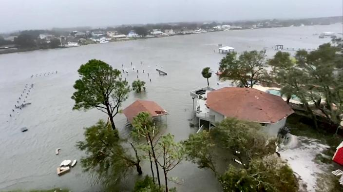 Storm damage in Perdido, Fla., on Sept. 16, 2020. (Vicky Collins / NBC News)