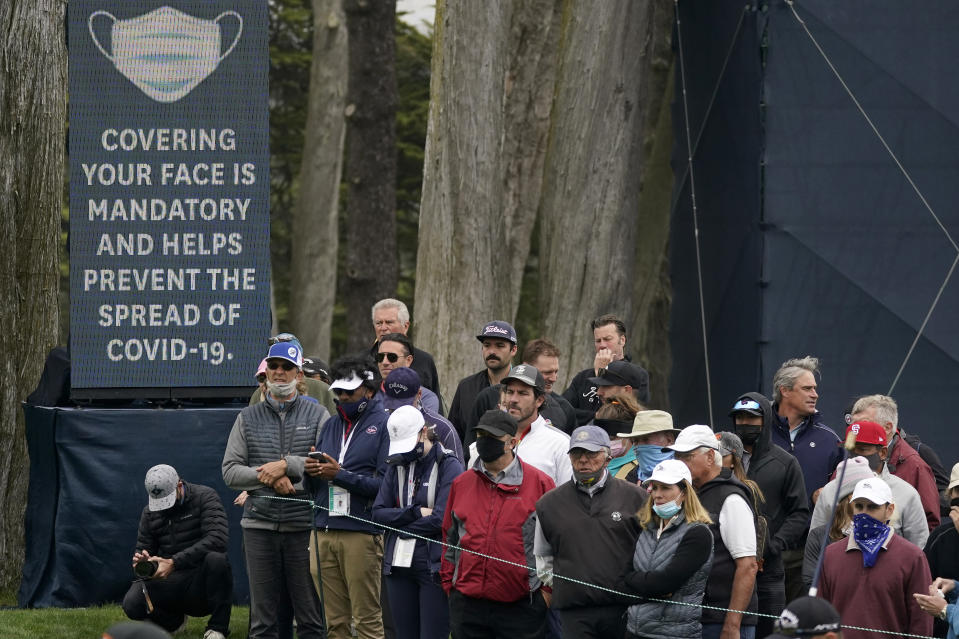 Fans watch play during the second round of the U.S. Women's Open golf tournament at The Olympic Club, Friday, June 4, 2021, in San Francisco. (AP Photo/Jeff Chiu)