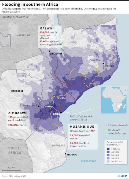 Updated graphic showing the flooding situation in Mozambique, Zimbabwe and Malawi (AFP Photo/)