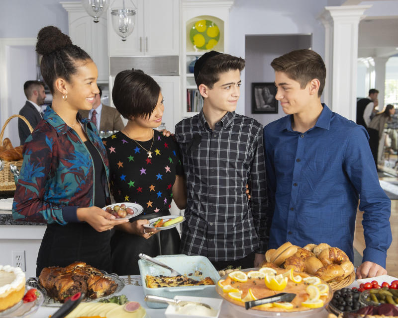 """""""Andi Mack"""" stars Sofia Wylie,PeytonElizabeth Lee, Joshua Rush and Asher Angel in Friday's episode,""""One in a Minyan."""""""
