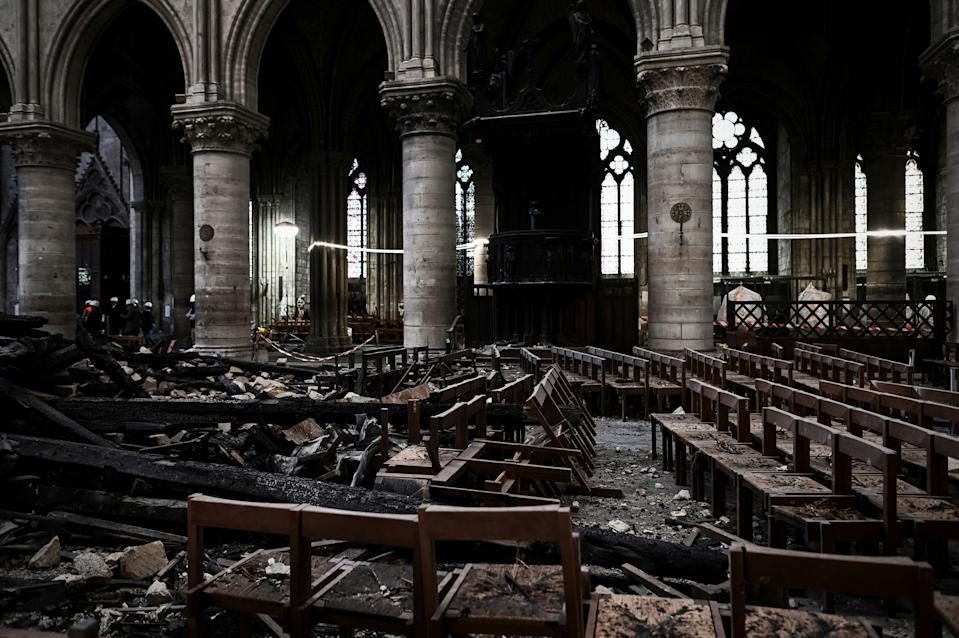 Damages and rubble are pictured inside the Notre Dame de Paris Cathedral, May 15, 2019 in Paris. (Photo: Philippe Lopez/Pool via AP)