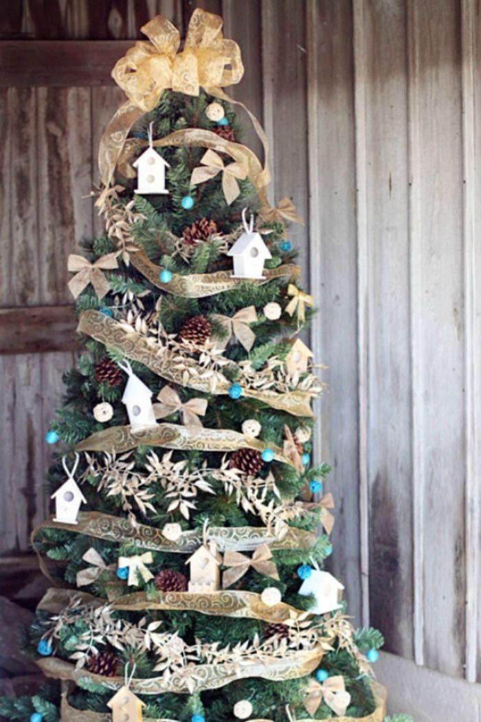 """<p>Home is where the heart is — what better sentiment to decorate your tree around? All you need is gold garland, some bird feeders, and pine cones.</p><p><strong><em>Get the tutorial at <a href=""""http://www.sugarbeecrafts.com/2014/11/themed-christmas-tree-home-tweet-home.html"""" rel=""""nofollow noopener"""" target=""""_blank"""" data-ylk=""""slk:Sugar Bee Crafts"""" class=""""link rapid-noclick-resp"""">Sugar Bee Crafts</a>.</em></strong></p><p><a class=""""link rapid-noclick-resp"""" href=""""https://www.amazon.com/Gold-Leaf-Ribbon-1-1-10Yd/dp/B00CLER5L0?tag=syn-yahoo-20&ascsubtag=%5Bartid%7C10070.g.2025%5Bsrc%7Cyahoo-us"""" rel=""""nofollow noopener"""" target=""""_blank"""" data-ylk=""""slk:BUY GOLD LEAVES"""">BUY GOLD LEAVES</a></p>"""