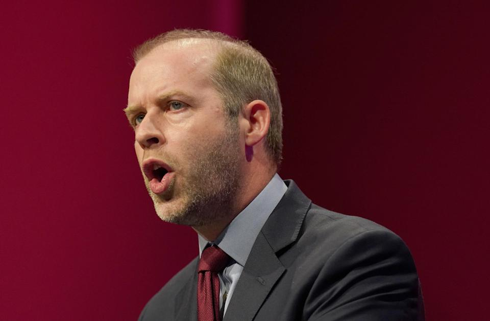 Shadow work and pensions secretary Jonathan Reynolds during his speech at the Labour Party conference at the Brighton Centre. Picture date: Monday September 27, 2021.