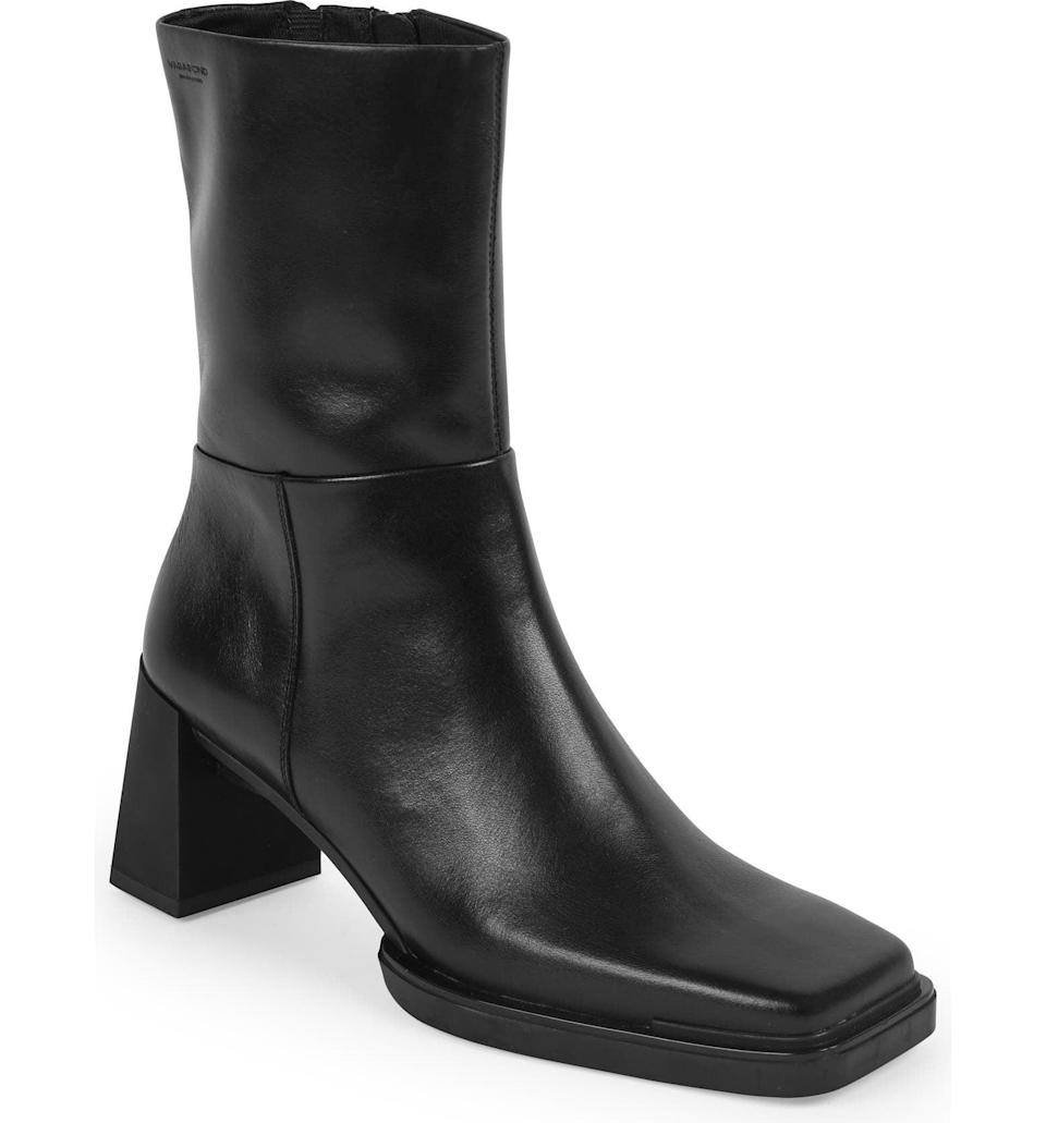 <p>The slight rubber platform of this <span>Vagabond Shoemakers Edwina Square Toe Boot</span> ($225) gives it a retro feel, while the square toe and sculptural heel make it look modern. It'll quickly become BFFs with all your ensembles, whether that's a slip dress or a top and jeans combo.</p>