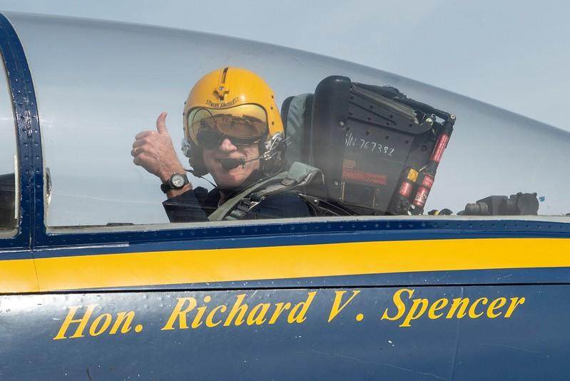 Secretary of the Navy Richard V. Spencer visits the U.S. Navy flight demonstration squadron, the Blue Angels