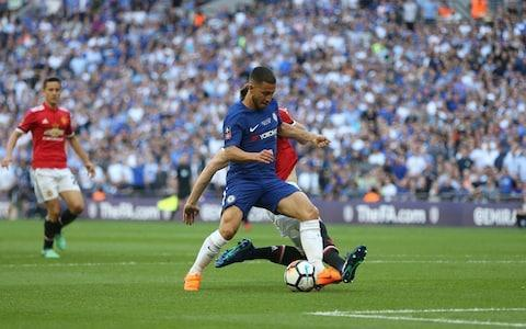 "FULL TIME: Chelsea 1 (Hazard 22' PEN) Man Utd 0 This is the kind of day by which Antonio Conte will like to remember his time at Chelsea, if indeed it is to end after two seasons and two major trophies, with a cup in his hand, champagne in his hair and his old enemy Jose Mourinho wondering how easily he let a final slip away. Both men have had the great advantage of managing Eden Hazard and both have seemed to disapprove at times of the mercurial Belgian and his rare, unpredictable talent – but on this day there was no questioning the great quality of Chelsea's No 10. As he ran away from Phil Jones on 21 minutes, trailing the Englishman like an old rig pursuing a sail boat in a breezy bay, one wondered what he might to do England when Belgium meet them in the World Cup next month. This was a dreadful final but you were left with the impression that Hazard remains a great player in an era when what it means to be the best has been taken to new levels by the two stars of the Spanish game. He stroked in the 22nd-minute penalty that decided the game as if he were posting his neighbour's mail, and although United got to grips with him better in the second half the damage was already done. United were woeful in the first half, although Mourinho did not see it that way. ""I'm quite curious today, tomorrow, the next couple of days to read, to watch, to listen to your opinions,"" he said in his press conference, ""especially because now I'm on holidays and I have more time for that."" Of course, he did not mean any of that, it was simply a way of dealing with the inevitable questions about such a lacklustre performance and portraying himself as stoical and misunderstood. FA Cup final player ratings He complained that it was Chelsea who were the more unadventurous of the two and said to the BBC that they had not deserved to win. Just after he had bemoaned Romelu Lukaku's withdrawal, the Wembley press room sound system packed in and the sound of whining filled the room, although at that moment Mourinho was silent. It was the first time he had lost a domestic cup final in England. There were fine performances in the Chelsea shirts, from Thibaut Courtois in particular when United burst into life in the second half. It was a good day for the likes of N'Golo Kante, Gary Cahill and Antonio Rudiger but it was not United as they like to imagine themselves at Wembley. They had 70 minutes including stoppage time to reel in Chelsea and they failed miserably, ending the game as they began it, with no real flair in attack. When the last corner sailed straight into Courtois' gloves, Alexis Sanchez ripped off some strapping and threw it to the turf in frustration. It is a season without a trophy for Mourinho and a very dull note on which to sign off for the summer. Conte on the other hand has his second major English honour and the eighth FA Cup of Chelsea's history, lifting them above Liverpool on seven to draw level with Tottenham Hotspur in third on the same total. FA Cup final reaction and analysis 