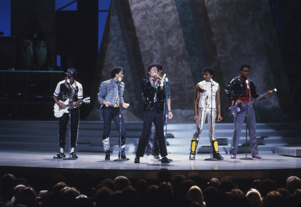 Also on <em>Motown 25</em>, Michael Jackson reunited with his brothers for a medley of the Jackson 5's greatest hits. (Photo: Getty Images).