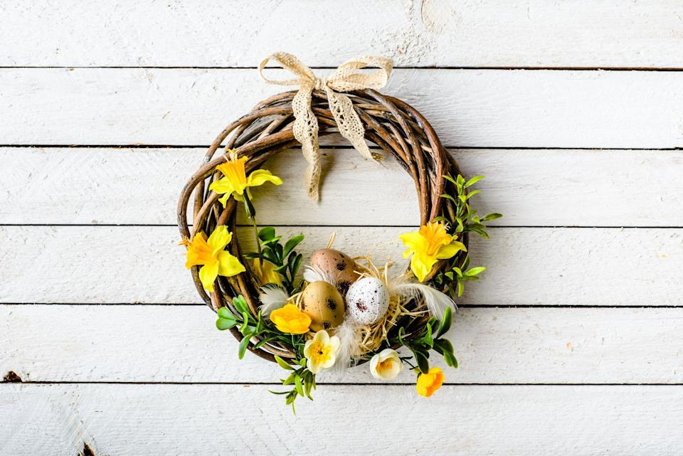 """<p>With so many <a href=""""https://www.thepioneerwoman.com/home-lifestyle/crafts-diy/g35323396/easter-decorations/searchoverlay"""" rel=""""nofollow noopener"""" target=""""_blank"""" data-ylk=""""slk:DIY Easter decorations"""" class=""""link rapid-noclick-resp"""">DIY Easter decorations</a> to create, <a href=""""https://www.thepioneerwoman.com/home-lifestyle/crafts-diy/g35374475/easter-egg-designs/"""" rel=""""nofollow noopener"""" target=""""_blank"""" data-ylk=""""slk:egg designs"""" class=""""link rapid-noclick-resp"""">egg designs</a> to try, and cute springtime crafts to put together, there are a lot of activities to keep you and your family busy in the days leading up to Easter. Since there are so many fun projects to choose from, why not make something for your front door too? That's where these cheerful DIY Easter wreaths come in, ready to spruce up your door with lots of springtime flair. From twine-covered carrots to fuzzy baby chicks to plastic eggs (they can be used for a lot more than <a href=""""https://www.thepioneerwoman.com/home-lifestyle/crafts-diy/g35325574/easter-baskets/"""" rel=""""nofollow noopener"""" target=""""_blank"""" data-ylk=""""slk:Easter baskets"""" class=""""link rapid-noclick-resp"""">Easter baskets</a>!), you'll be able to create wreaths that are dressed in their Easter best. </p><p>If you see Easter as the official start of spring, you can also craft some flower-covered wreaths that'll welcome the warmer weather. These designs are perfect to leave up all season long! And don't limit your DIY wreath décor to just your <a href=""""https://www.thepioneerwoman.com/home-lifestyle/crafts-diy/g35375043/outdoor-easter-decorations/"""" rel=""""nofollow noopener"""" target=""""_blank"""" data-ylk=""""slk:outdoor Easter decorations"""" class=""""link rapid-noclick-resp"""">outdoor Easter decorations</a>—you can add these festive touches to your kitchen, a mantel, a headboard, or even the side of a barn. Grab some chocolate eggs to munch on, and get to making these DIY Easter wreaths!</p>"""